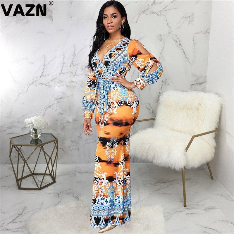 VAZN 2020 Heißer Liste Vintage Hohe-ende Indie Folk Sexy Club Tiefem V-ausschnitt Volle Hülse Frauen Hohe Taille Dünne maxi Kleid
