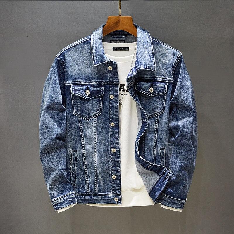 Autumn men's Stretch skinny denim jacket solid color buttons solid color retro jeans jacket men's slim casual fashion coats 5XL