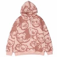 feynzo new hoodie harajuku graffiti cartoon bear print hooded pullover sweatshirts hip hop fashion casual loose unisex tops