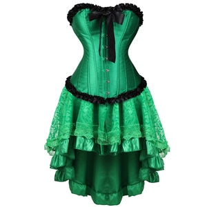 Corset Dress Bustiers Victorianlace Up Lingerie Lace Corset Skirts For Women Burlesque Gothic Sexy Redk Green Red Corsage Erotik
