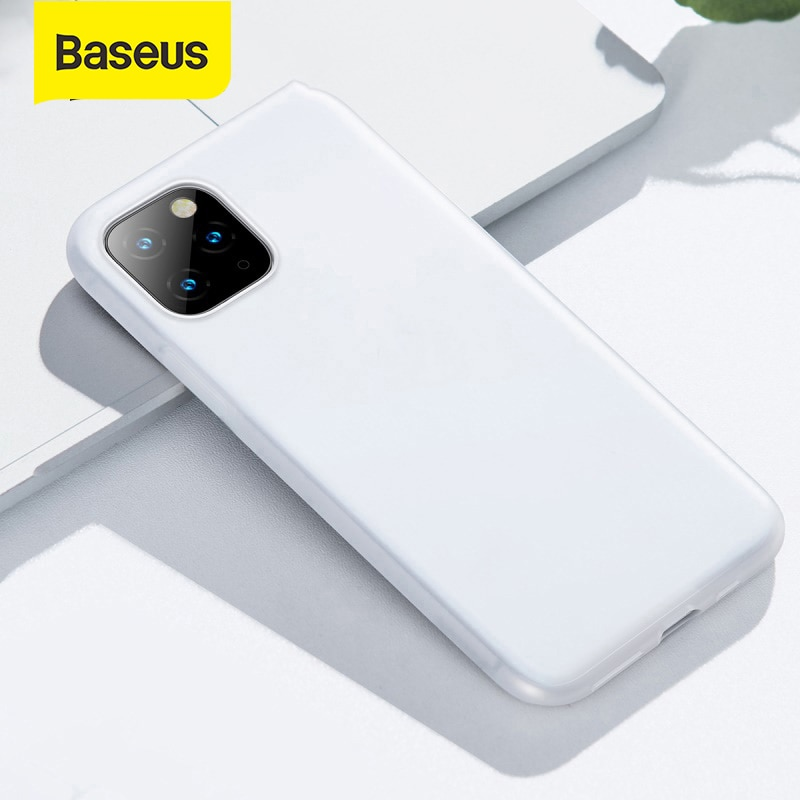 Funda de teléfono de protección de silicona completamente cubierta Baseus a prueba de golpes para iPhone 11 Pro XR Xs Max 0,8mm, carcasa trasera fina suave para teléfono