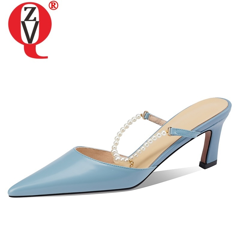 ZVQ Pointed Toe Slippers Ladies Genuine Leather Sandals Good Quality High Heel Party Shoes Office Ladies Pointed Toe Summer Shoe