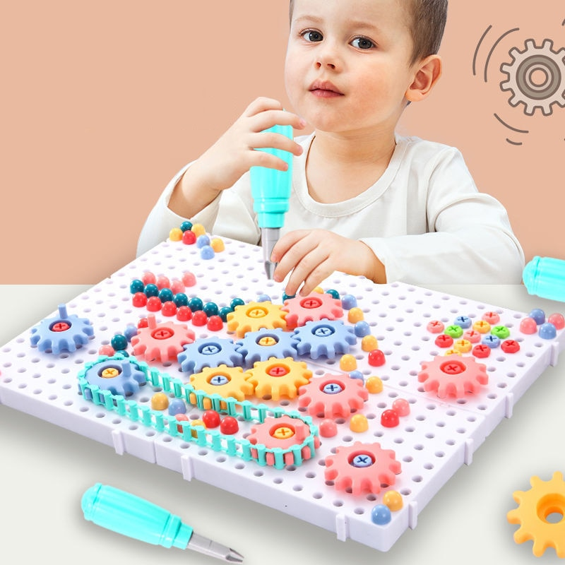 DIY Electric Drill Screw Toys For Children Nut Disassembly Assembly Tools Sets Creative 3D Puzzle Educational Toys Kids Gifts