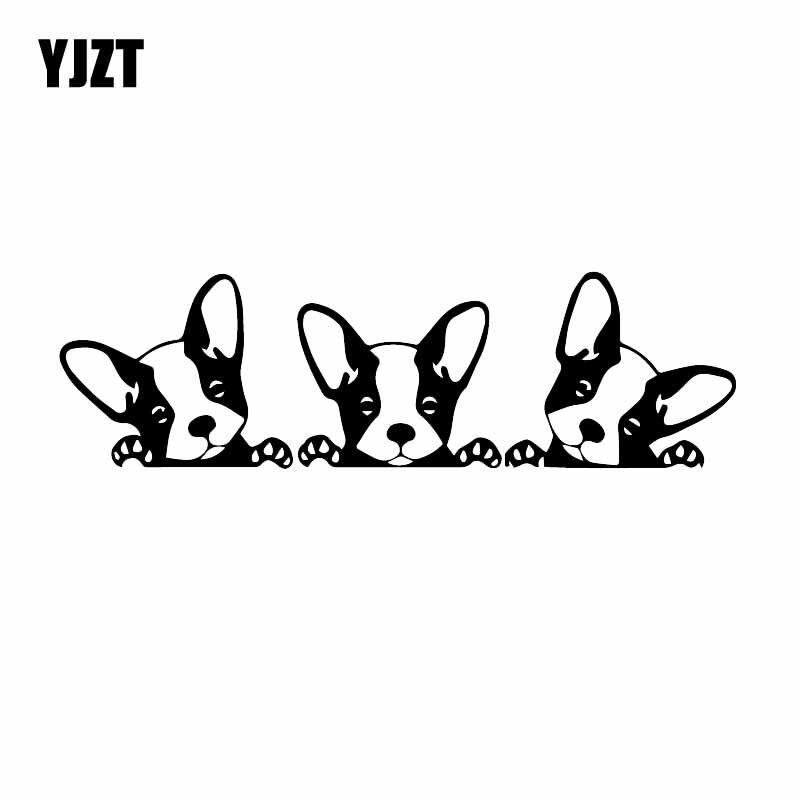 YJZT 18,4X5,4 см забавные Стикеры для автомобиля маленькая собака любимчика милые животные мультфильм Виниловая Наклейка Декор черный/серебрист...