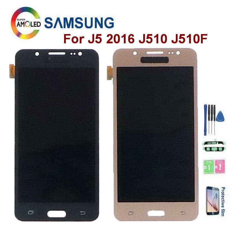 Super amoled j510 display para samsung galaxy j5 2016 j510f j510fn j510g j510m j510h lcd screen display toque digitador assembléia