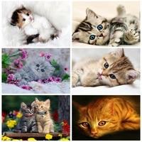 Peinture de diamant 5D a faire bricolage-meme  Kits de points de croix de chat  broderie complete ronde danimaux  cadeau dart perle  mosaique  decor mural de maison