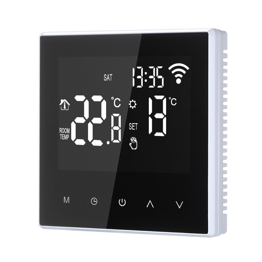 ترموستات واي فاي ذكي ، متحكم رقمي في درجة الحرارة ، تحكم عن طريق التطبيق ، قابل للبرمجة ، تدفئة أرضية كهربائية ، مع شاشة LCD كبيرة