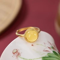 fine jewelry s925 sterling silver gold plated inlaid natural beeswax amber rings women temperament ladies ring open ring k0000