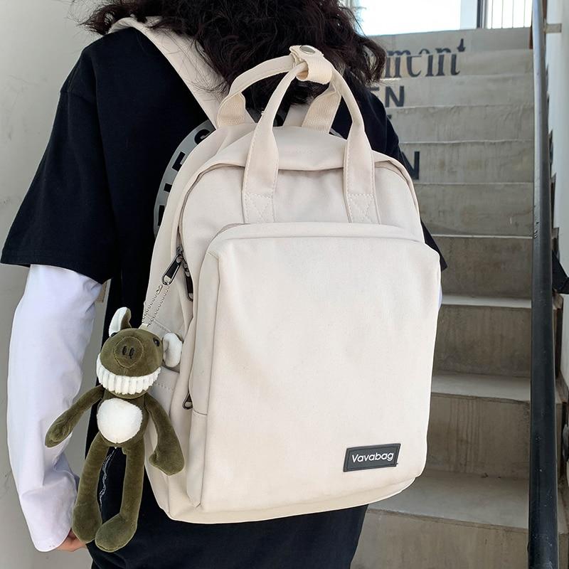 HOCODO 2020 Women Backpack  Buckle Handle Pure Color Teenager Backpack Female School Bag For Teenage Girls Shoulder Bag Knapsack