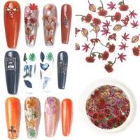 50 pcs holographic color maple leaf 3d nail sticker sequins leaf rainbow color flake manicure charm decoration accessory
