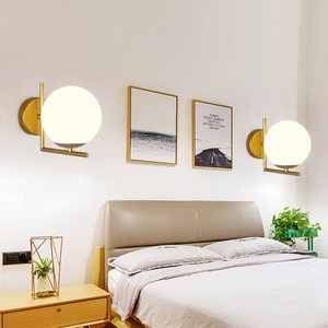 LED Light Modern Minimalist Iron Art Bedroom Bedside Lamp Living Room European American Aisle Staircase Hotel Project Wall Lamp