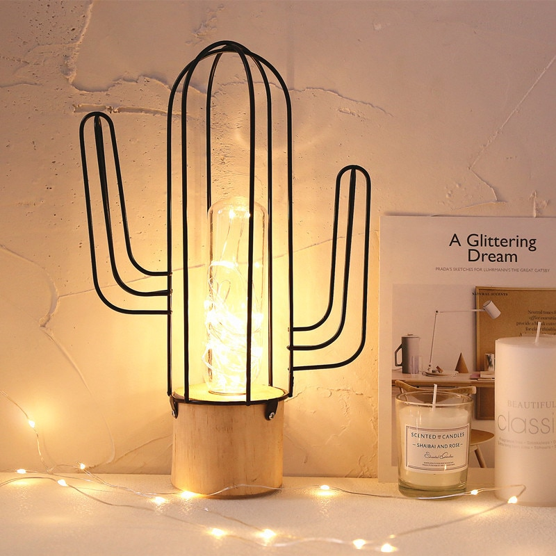 Vintage Metal 3D Cactus hogar lámpara de mesa AA batería energía Mesa decoración iluminación Color blanco cálido para decoración del hogar iluminación