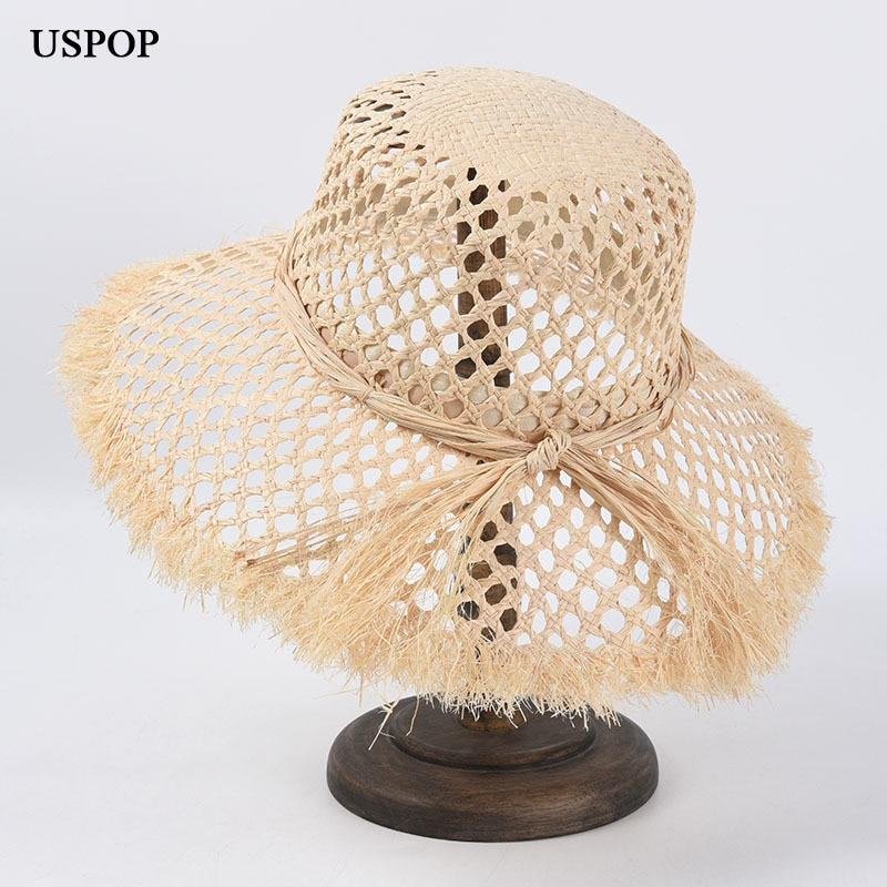 USPOP 2020 New fashion hollow-out raffia straw hat casual natural sun hats wide brim beach