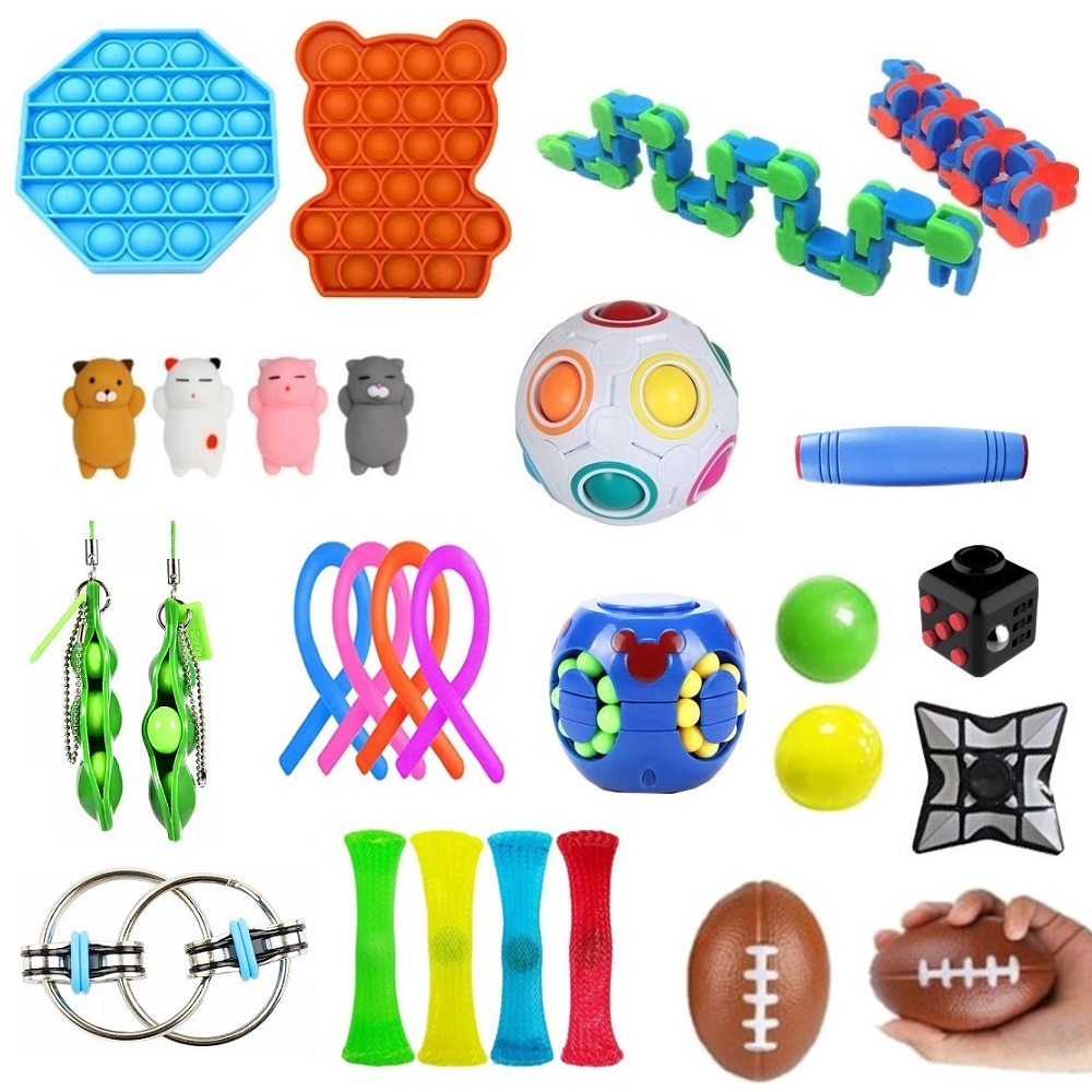 Fidget Relief Stress Toy Set Autism Anxiety Relief Pop Push Bubble Gift For Adults Children Sensory Stress Relief Antistress Toy