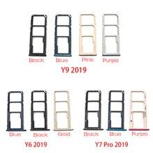 Nouveau support de fente de plateau de carte SIM pour Huawei Y6 Y9 Y7 Pro 2019 pièce de rechange de plateau de carte SIM