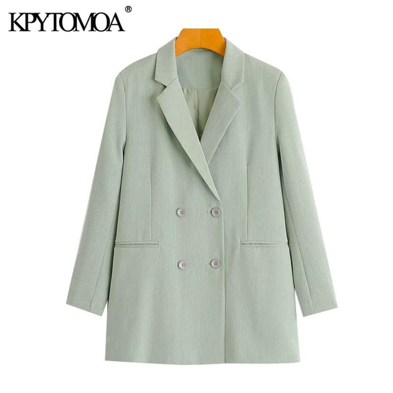 ملابس عصرية للنساء 2021 من KPYTOMOA سترة بأزرار مزدوجة الصدر معطف عتيق بأكمام طويلة وجيوب ملابس خارجية نسائية أنيقة