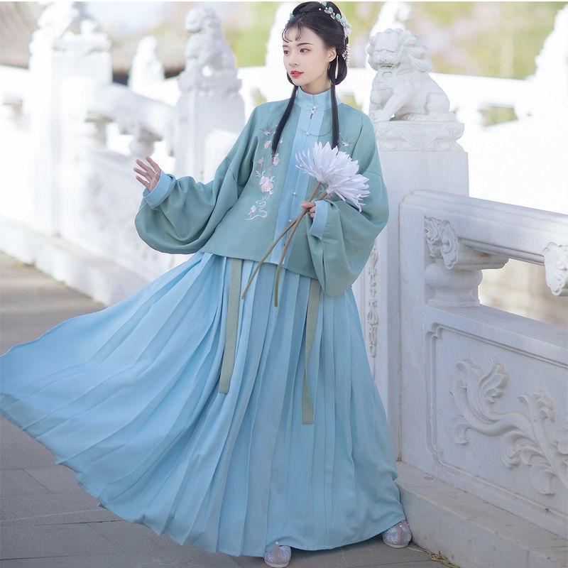فستان هانفو على الطراز الصيني التقليدي للنساء ، ملابس الأميرة من سلالة مينج ، ياقة واقفة ، تطريز ، زي خرافي