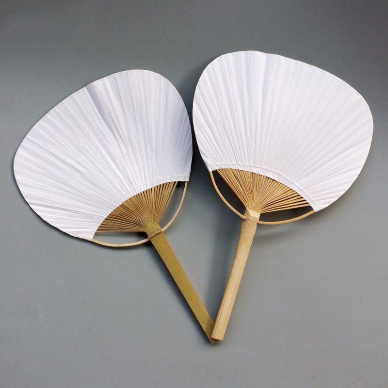 20 piezas blanco puro con mango de bambú pintura de caligrafía en blanco grupo en blanco ventilador blanco