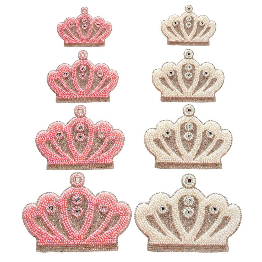 Appliques de couronne strass de reine rose blanc   Perles de couleur en cristal pour nouveau-né bébé vêtements à motif strass tendance, pathches en verre à motifs