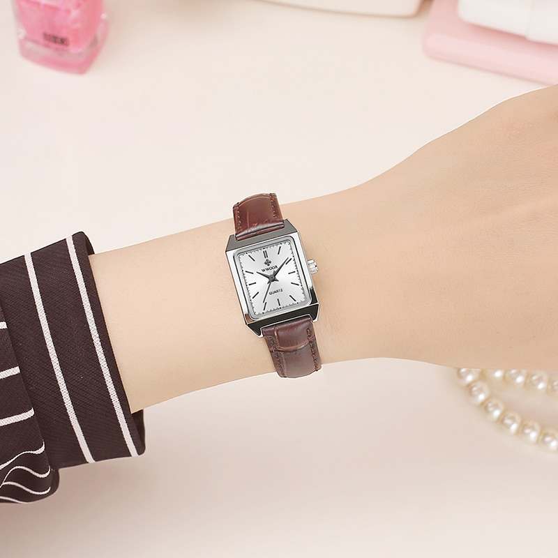 WWOOR Fashion Small Rectangle Watch Women Brown Leather Casual Style Quartz Wrist Watch For Women hand Watches Gifts 2020 xfcs enlarge