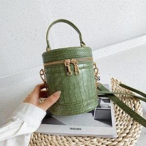 New Alligator Pattern Female Bucket Bag Shoulder Slanting Crossbody Women's Small Handbag A020