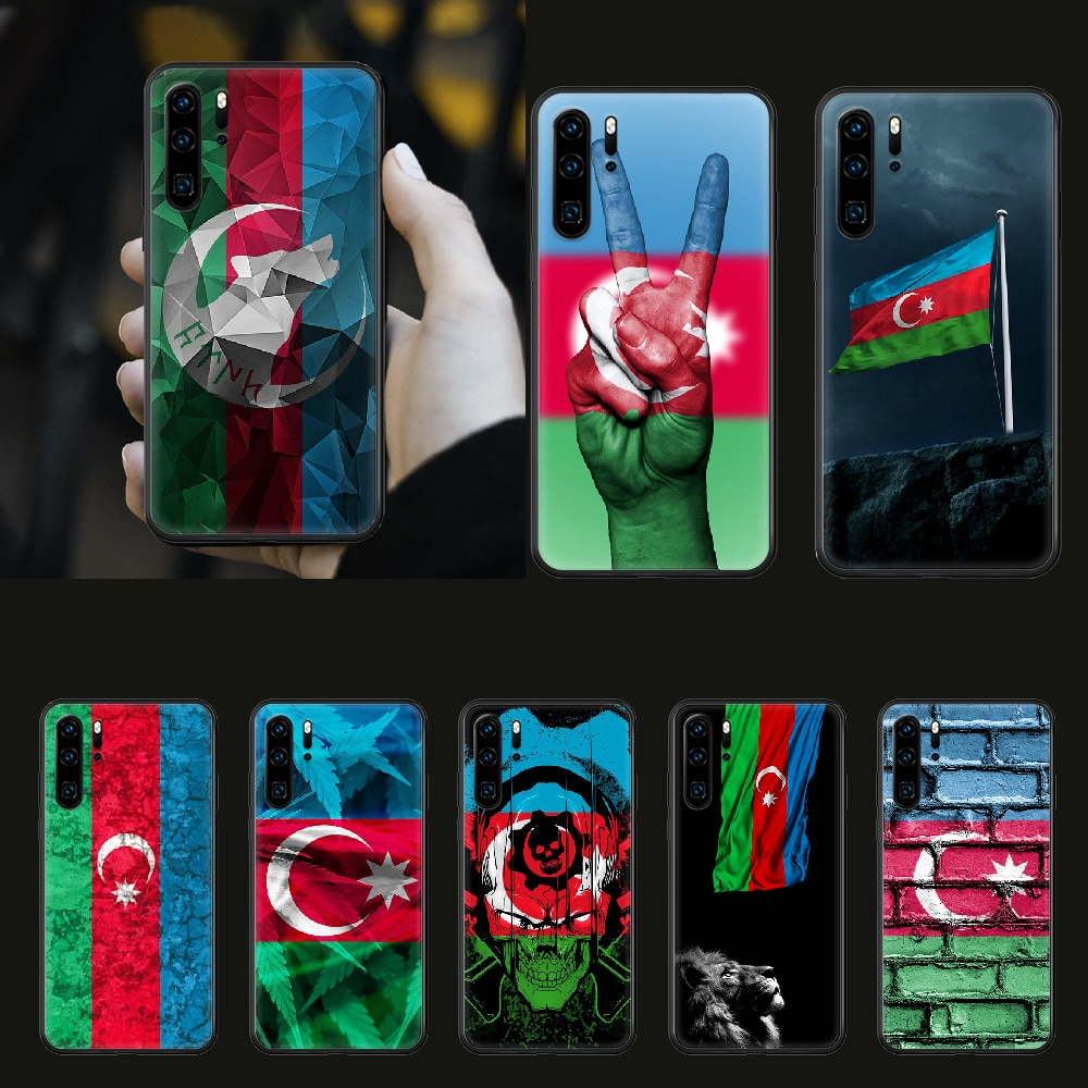Azerbaijão buta bandeira colorida capa de telefone para huawei p 8 9 10 20 30 40 p pro inteligente 2019 z lite mini preto à prova dwaterproof água macio