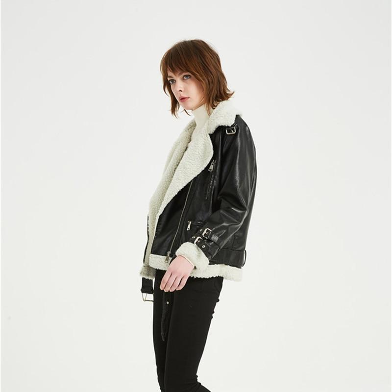 Winter new Women Leather Jacket sheepskin Coat Korean version of the thickening Biker Jacket Fashion casual Faux Leather Coat enlarge