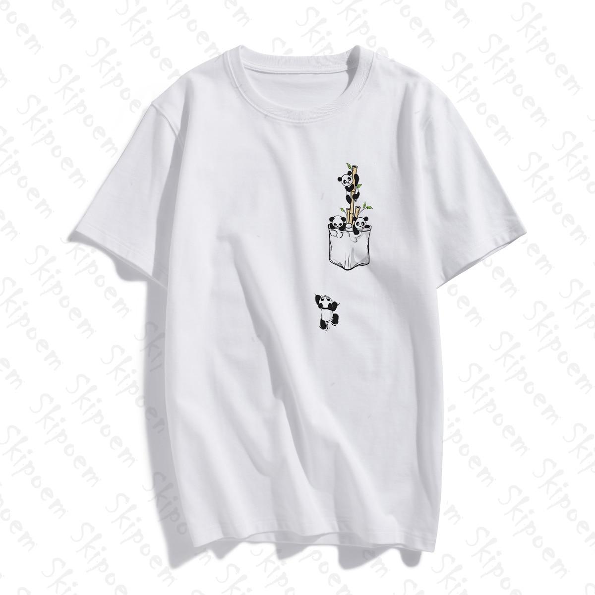 A Panda Dropped From His Pocket Women Tshirt Aesthetic Tumblr Harajuku Kawaii Short Sleeve Cotton Plus Size Top Tees Streetwear