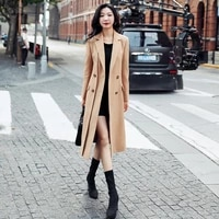 woolen coat womens middle and long style new british style in autumn and winter 2021 high end waist over knee woolen coat