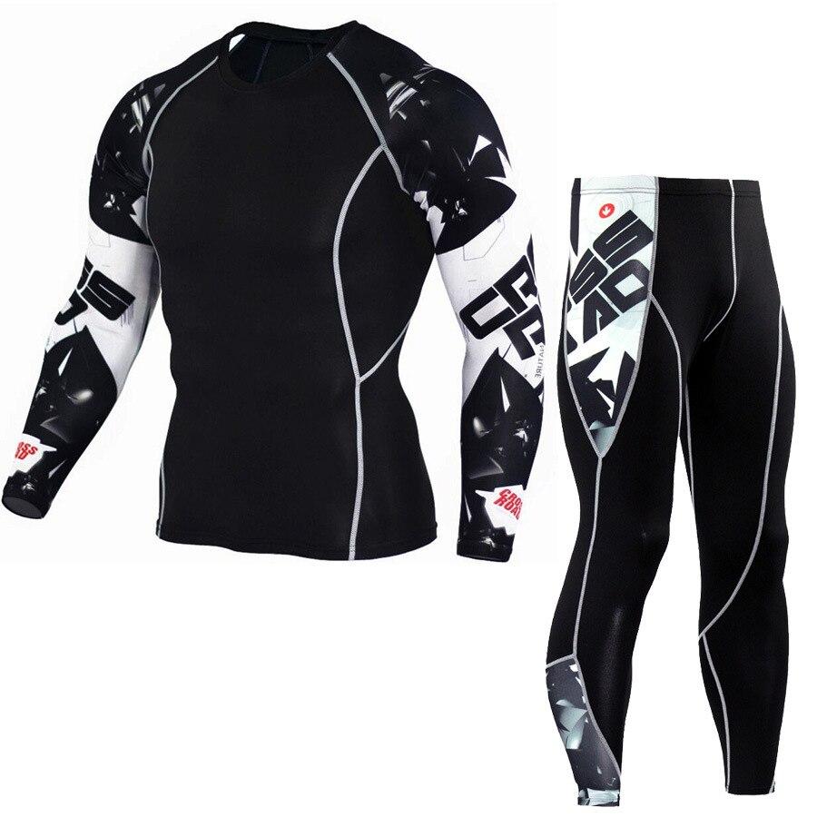 Мужская футболка с длинным рукавом и штаны MMA, Мужская компрессионная рубашка, фитнес-одежда, спортивный костюм для бодибилдинга