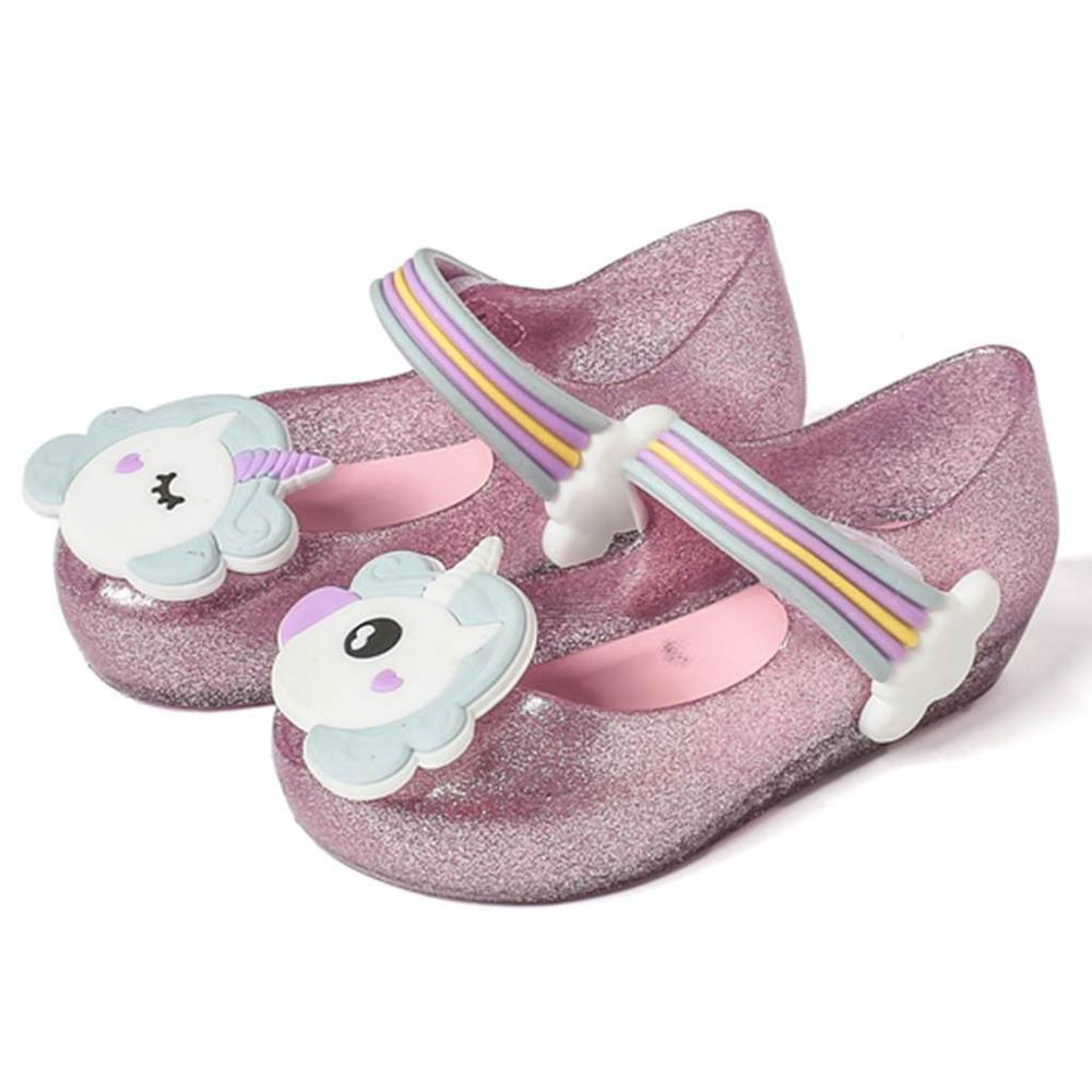 Mini Melissa Girls Sandals Unicorn Jelly Shoes Children Sandals Breathable Non-Slippery High Quality