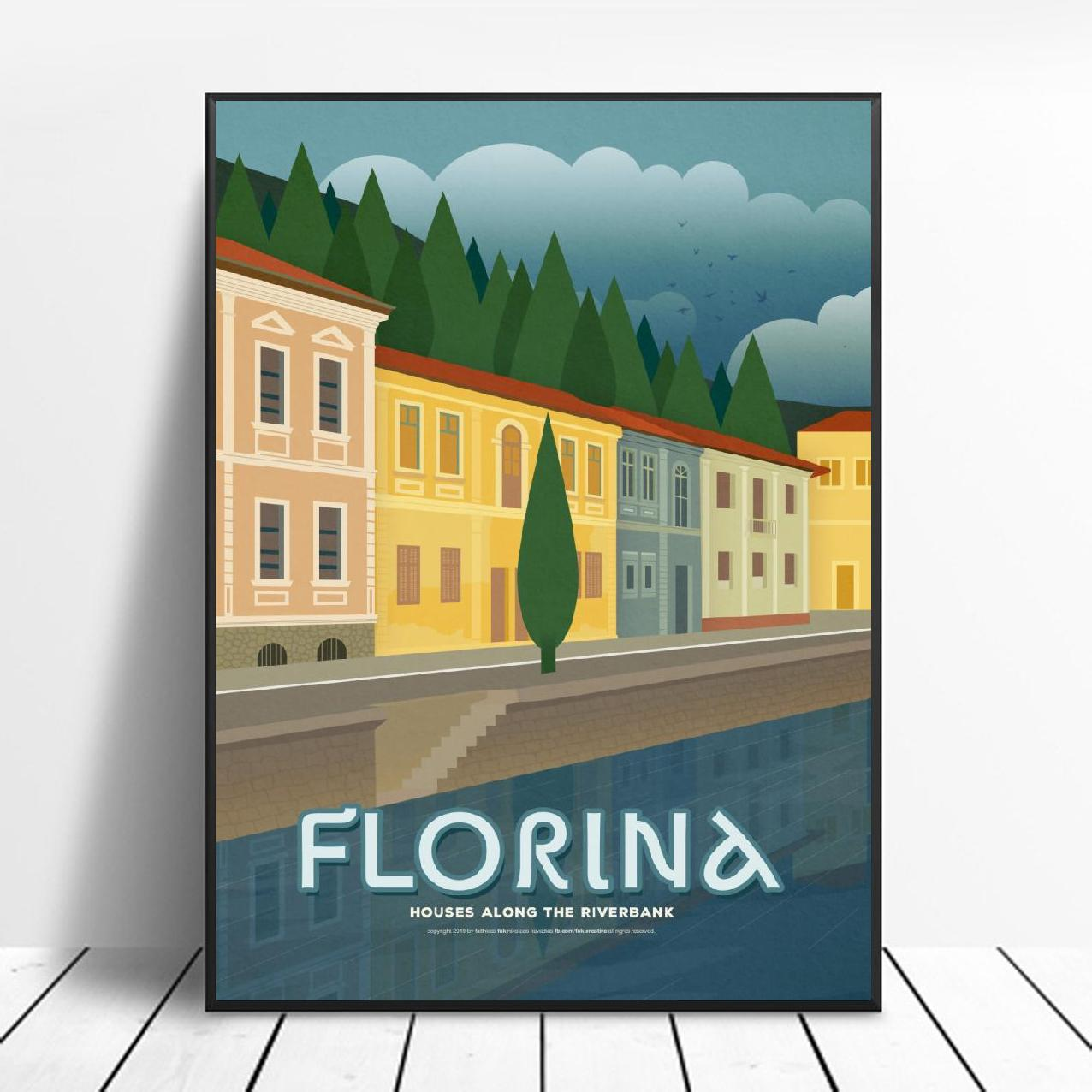Greece Florina Canvas Travel Poster Prints Home Wall Art Decor Painting