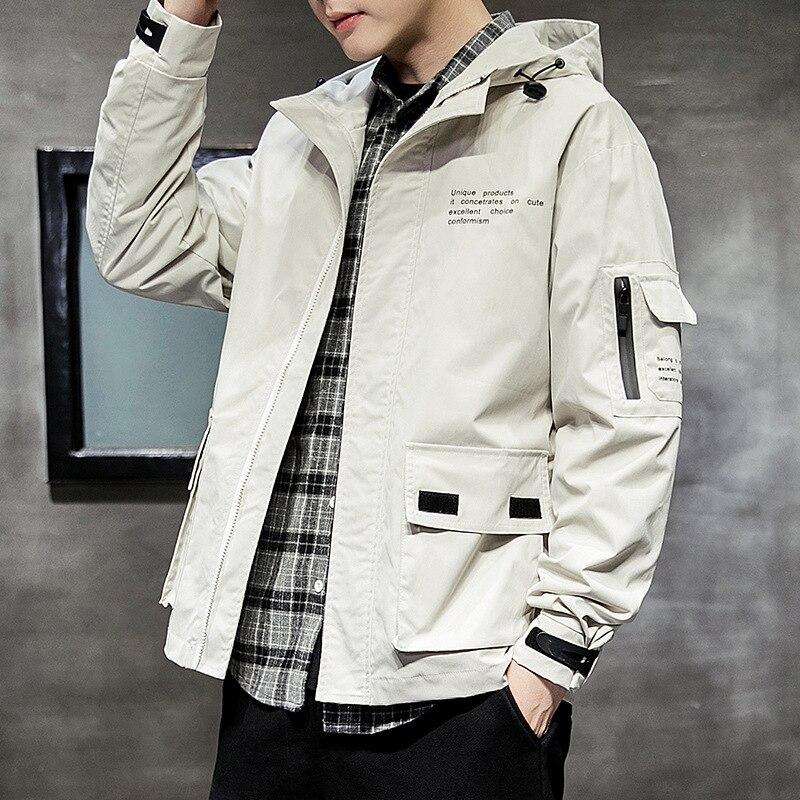 Осенняя мужская куртка, Мужская ветровка с капюшоном, мужская куртка для инструментов, модный брендовый спортивный топ с капюшоном для студ...