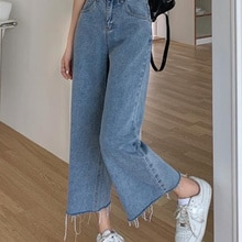 High Waist Jeans Women's Spring and Autumn Thin Capris 2021 New Loose Straight Pants Fashion