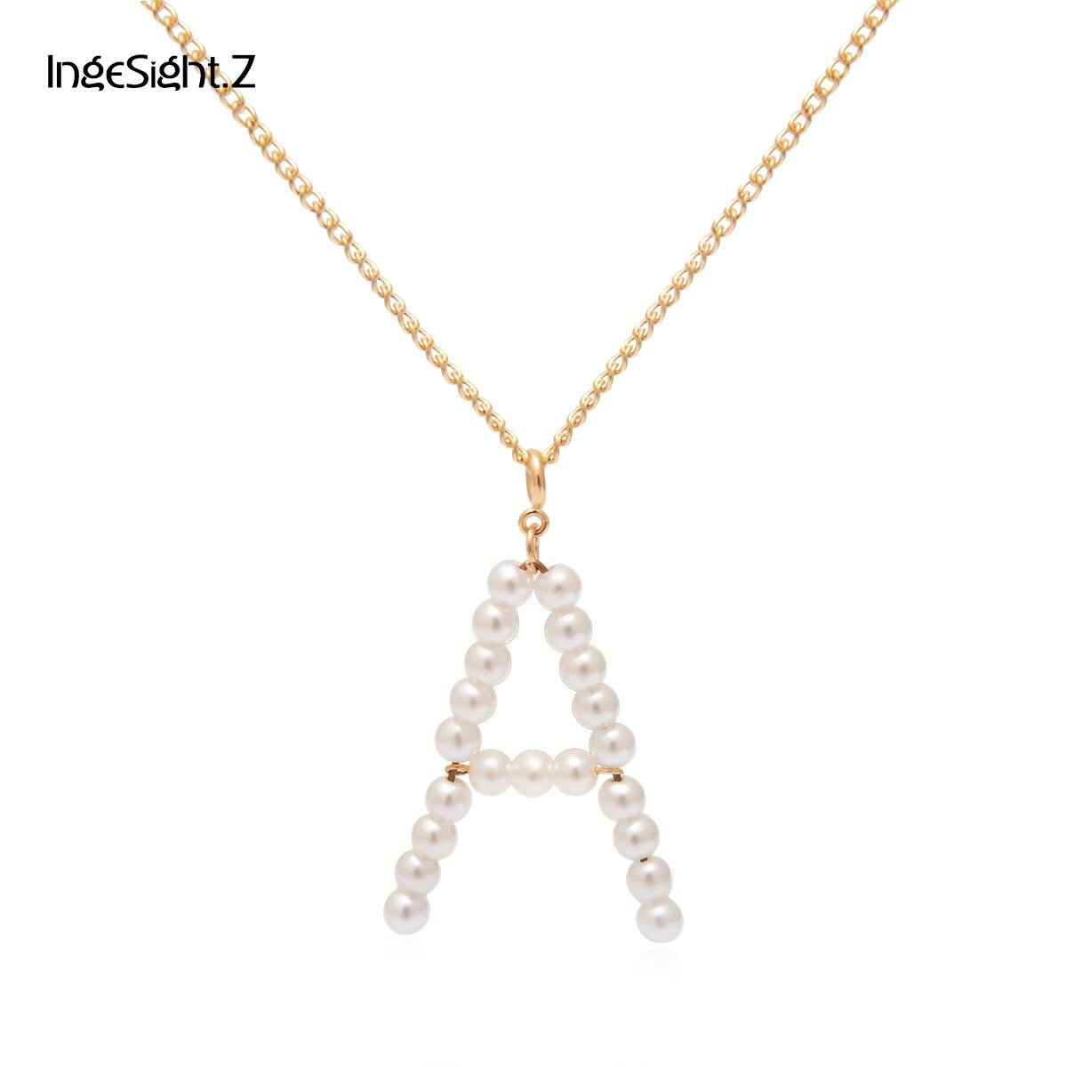 Простое Ожерелье IngeSight.Z с подвеской в виде буквы А из искусственного жемчуга, богемное длинное медное ожерелье золотого цвета для женщин, ювелирные изделия