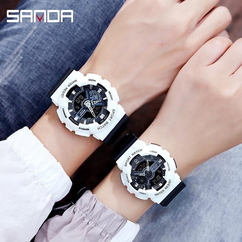 SANDA, 2020, nuevos relojes para parejas, reloj Digital LED de lujo para hombres, reloj electrónico deportivo a prueba de agua, reloj deportivo hombr