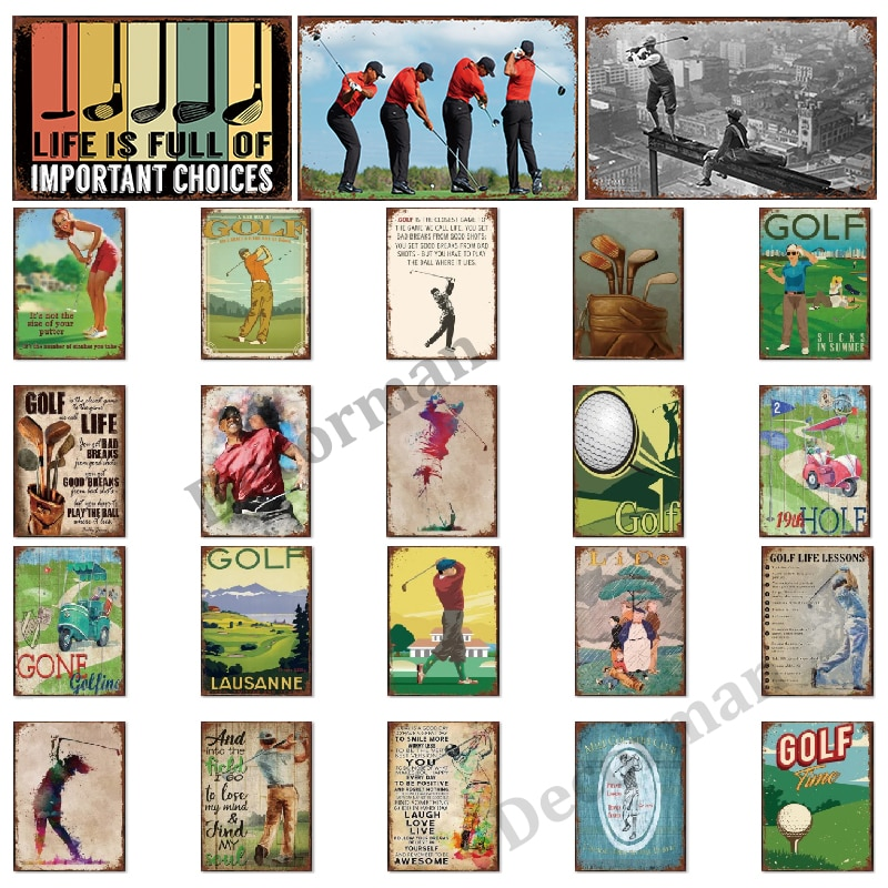 [ Mike86 ] Golf Star Tiger Life Metal Sign Vintage Sport Wall Posters iron Painting Gift art decor for Bar LTA-1739 20*30 CM