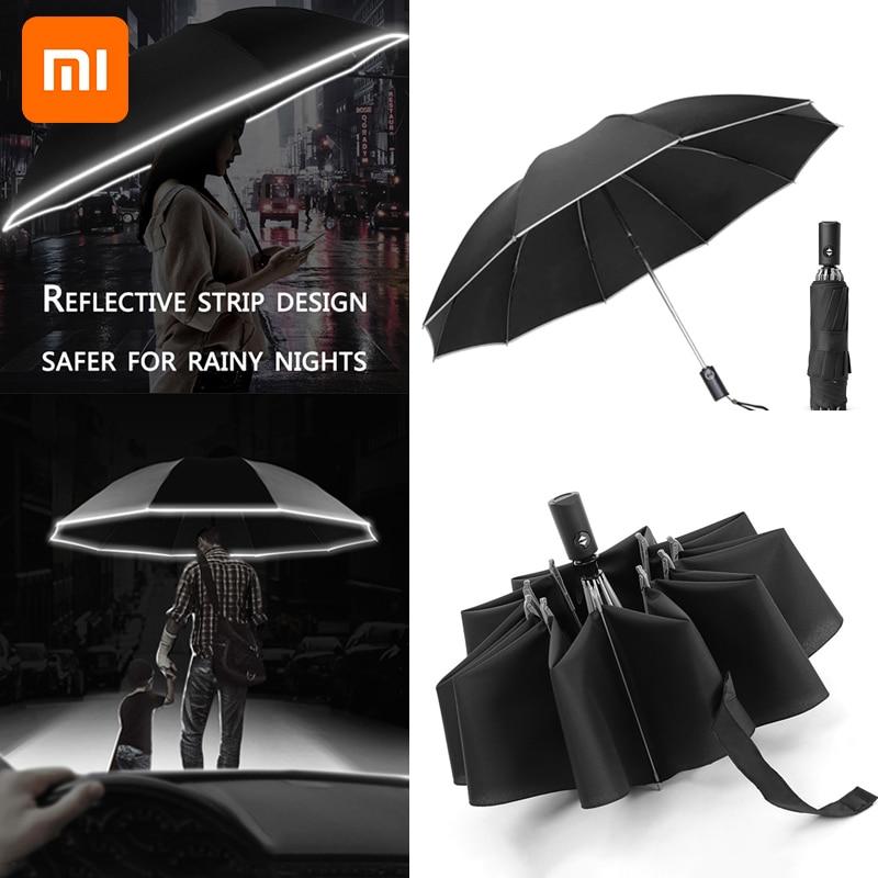 Модный портативный складной автоматический зонт Xiaomi 2021 с защитой от УФ-лучей, дождей, ветра, путешествий, солнцезащитные зонты, зонтик задне...