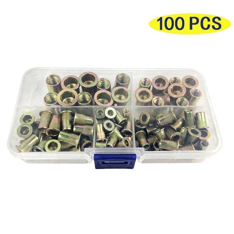 Zinc Plated Rivetnuts Blind Set Nutserts Threaded Insert Nutsert Cap Flat Head Rivet Nuts Carbon Steel M3 M4 M5 M6 M8 M10 M12