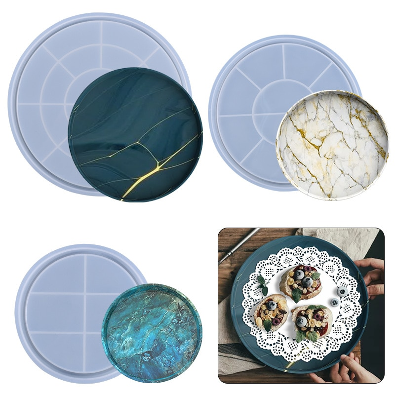 3PCS/Set Rolling Tray Mold Round Tray Molds for Epoxy Resin Epoxy Silicone Mold for Making Serving Tray Makeup Tray