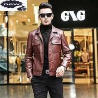 brand genuine leather men single breasted lapel casual cowhide moto biker jacket streetwear autumn outerwear plus size