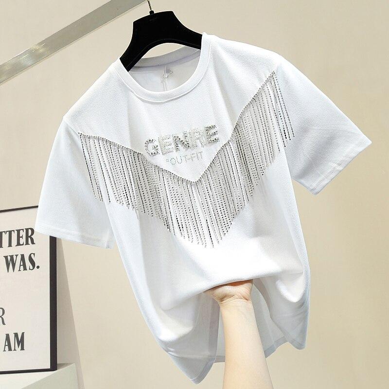 Industrial Hot Drilling Chain Tassels T-shirt Women Handmade Diamond Stereo Lettered Short Sleeve Tee Shirt Cool Loose Tops