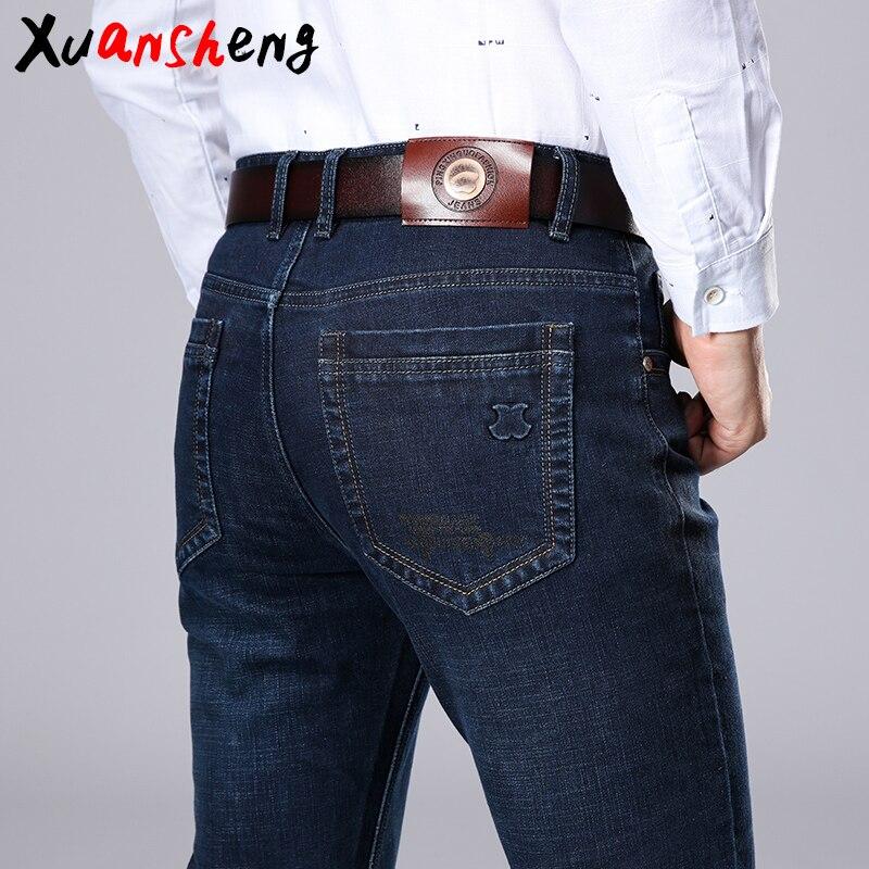 Xuansheng Брендовые мужские прямые джинсы 2020 новые летние бизнес рабочие повседневные Стрейчевые узкие джинсы классические брюки синие Черные длинные джинсы
