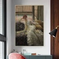 holover canvas oil painting james tissotseaside july specimen of a portraitrealism fashion lady aesthetic home decoration