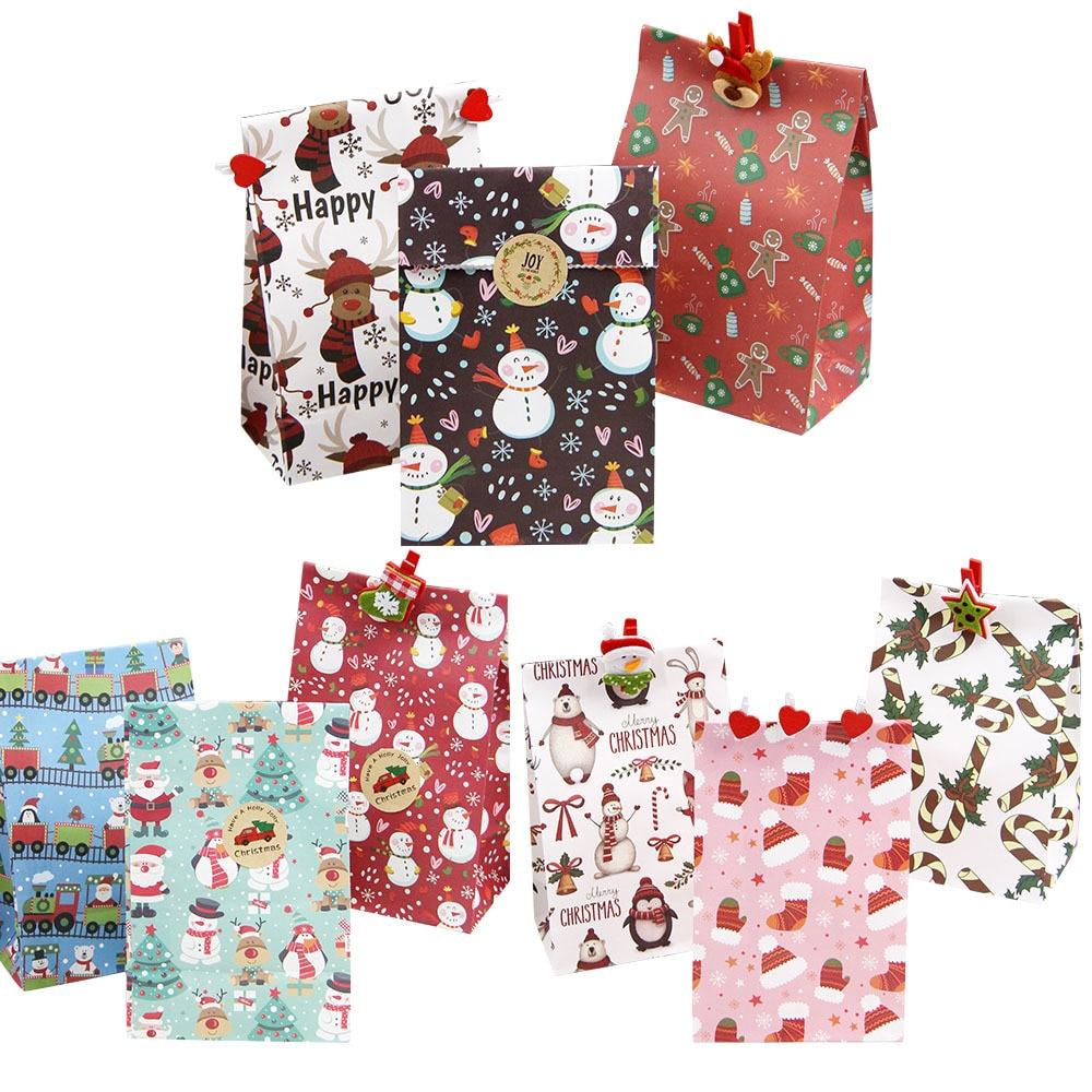 10 Uds feliz Bolsas de dulces de Navidad caja regalos de Santa...