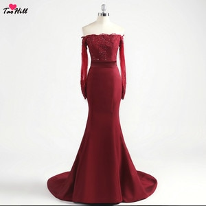TaoHill  Hot New Mermaid Off Shoulder Long Sleeve Evening Dresses Lace Dark Red Women Elegant Cheap Prom Dress With Short Train