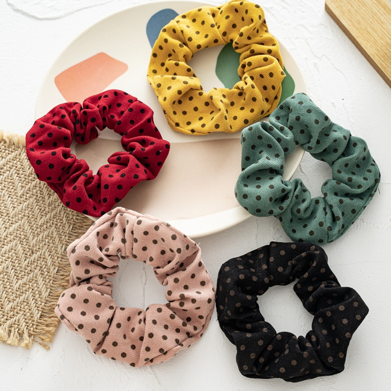 Korea Hair Scrunchie Elastic Hair Bands Polka Dots Women French Style Retro Scrunches Ponytail Holder Hairband Hair Accessories