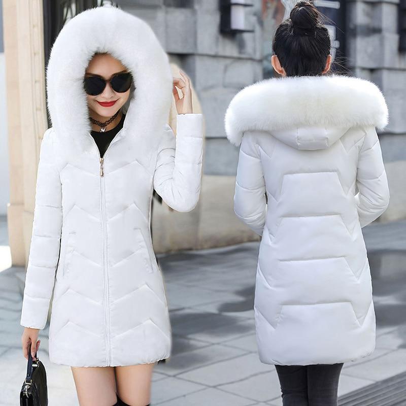 Белая женская зимняя теплая куртка с капюшоном и меховым воротником, съемная стеганая куртка, Женская длинная парка, Женская Стеганая куртк...