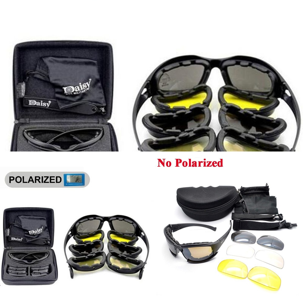 Tactical Men's Polarized Glasses Daisy Military Hunting Goggles 4 Lens Kit Sunglasses Men Hiking Cam