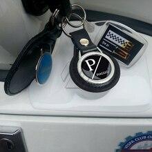 Brelok do kluczy motocyklowych etui z uchwytem na palec do czarnej skóry Piaggio